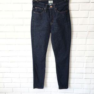 J. Crew High Rise toothpick dark denim jeans 27